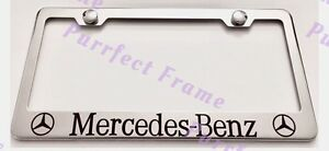 Mercedes-Benz-With-Logos-Stainless-Steel-License-Plate-Frame-Rust-Free-W-Boltcap