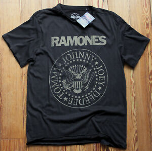 Ramones-Distressed-Crest-T-Shirt-NEW-OFFICIAL-Seal-Hey-Ho-Lets-Go-Gabba-S-M-L