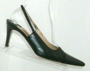 Cole Haan black leather pointed cap toe elastic slingback heels 10B Italy