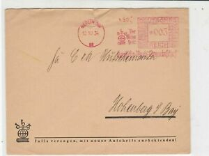 German 1934 Berlin S.W. Cancel with dbg Advert Stamps Cover ref R 17229