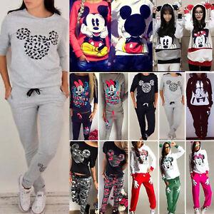 Women-Mickey-Minnie-Mouse-Sweatshirt-Hoodie-Jumper-Tops-Pants-Trousers-Tracksuit
