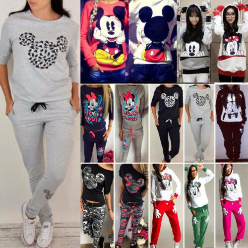 Womens Cartoon Mickey Mouse Tracksuit Casual Tops Sweatshirt + Pants Sportwear