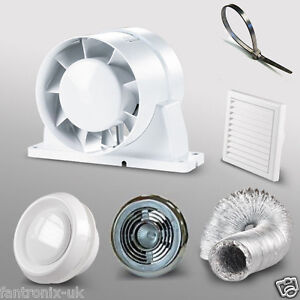 4-100mm-Bathroom-Shower-Inline-Extractor-Fan-Kit-LED-light-duct-grill-timer