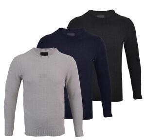 Mens-Premium-Chenille-Crew-Neck-Knitted-Winter-Jumper-Honeycomb-Top-M-XXL