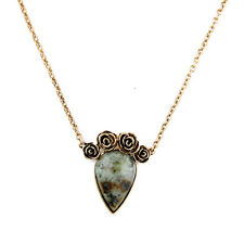 Rana Turquoise Stone Rose Vintage Gold Flower Pendant Necklace Bijoux Jewelry