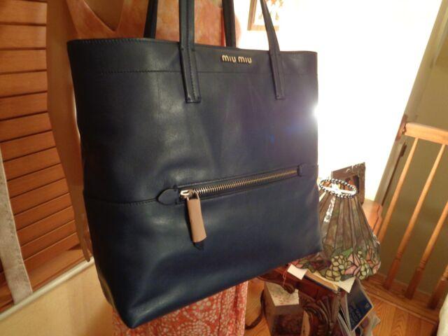 c028f6e4f720 NWT MIU MIU PRADA RR1934 Vitello Soft NAVY BLUE Leather Shopping TOTE  DUSTBAG