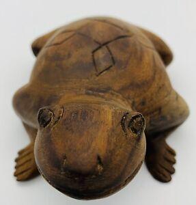USA-American-Native-Folk-Art-Hand-Carved-Wooden-Frog-Bullfrog-Vintage-Antique