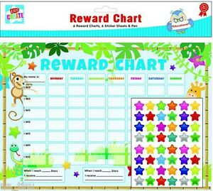 ANIMALS REWARD CHART 6pc 288 stickers PEN Reusable Good Behaviour Homework kids