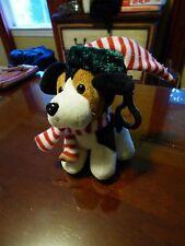 Ho Ho Hounds Christmas Stuffed Dog with Santa Scarf and Hat Keychain