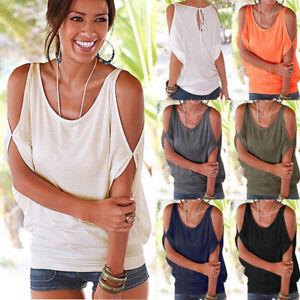25e23dfb77493 Slit Sleeve Cold Shoulder Tops Shirt Women Casual Summer Girl Tee T ...