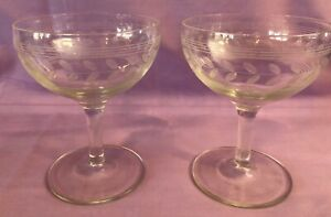 Vintage-Champagne-Sherbet-Glasses-with-Etched-Vine-Pattern-Set-Of-2