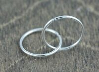 18k White Gold Tubing Hoop Earrings, (NEW, 14mm diameter, 1 mm thick, 0.7g) 2792