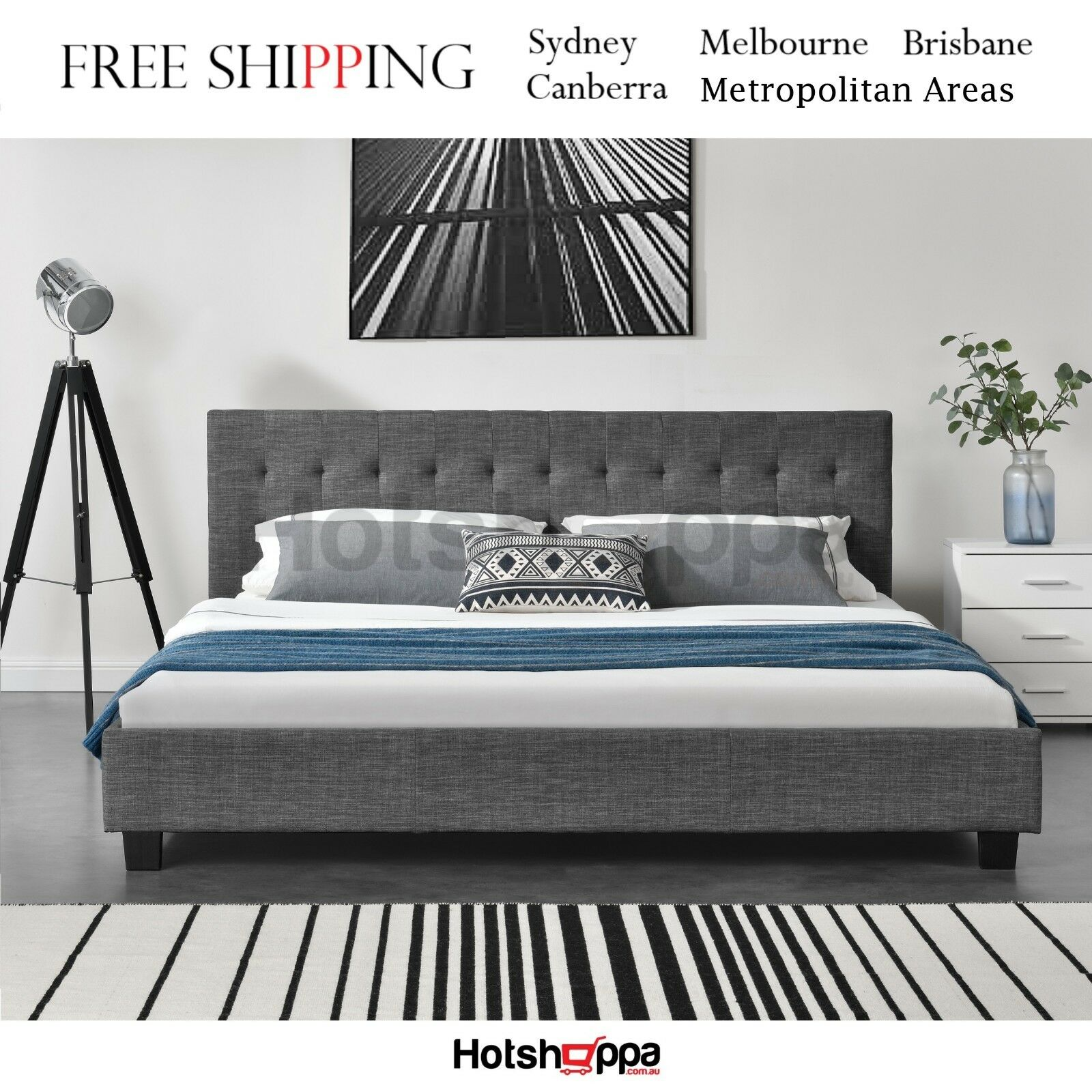 Queen Bed Frame.Details About Queen Bed Frame Strong Steel Frame Premium Quality Grayson Bedframe Hotshoppa