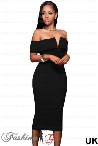 Womens Evening Dress Celeb Ball Gown Prom Party Formal Long Black Midi Size 8 10