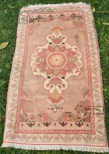 Low-Pile-faded-Colour-Vintage-Yastik-Turkish-Rug-Ushak-Carpet-Mat-1-039-11x3-039-4