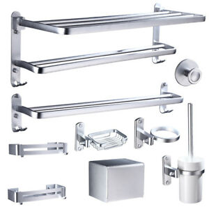 Aluminum Bathroom Hardware Towel Rack Ring Paper Holder Storage Shelf Hook Rack