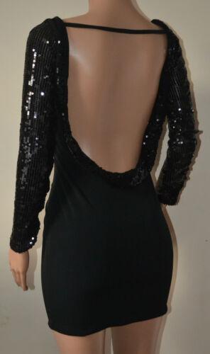e nero Vestito corto Vicky Martin 12 2 aderente lunghe nero retro con maniche senza 10 maniche Bnwt wvYFpqFSx