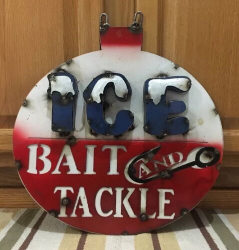 Ice Bait Tackle Metal Sign Fishing Bait Lure Lake Cabin Man Cave Garage Gas Oil