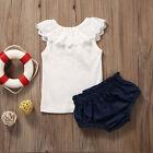 Newborn Kids Baby Girls Summer Outfits Clothes T-shirt Tops+Denim Pants 2PCS Set