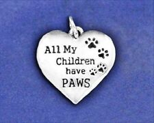 Pet Mom Charm Pendant All My Children Have Paws Dog Cat Sterling SIlver Plt Kids