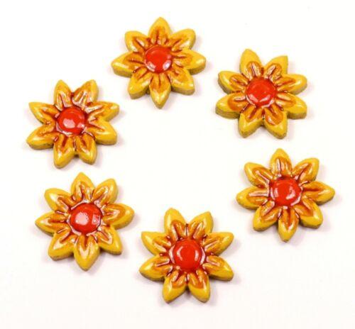 Mosaiksteine-Blumen-Blüten-Farbe:gelb//rot//braun 6 Stück-2.WAHL !! Grösse 4cm