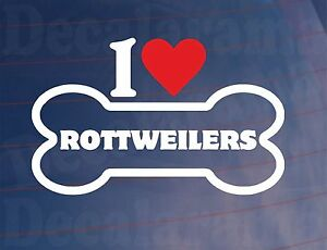 I-LOVE-HEART-ROTTWEILERS-Novelty-Bone-Car-Window-Sticker-Ideal-for-Dog-Owners