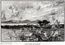 ISOLA D'ELBA DAL CONTINENTE. Arcipelago Toscano. Livorno. Stampa Antica. 1892
