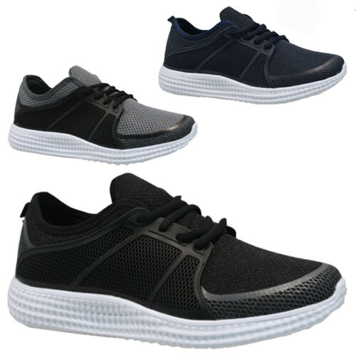 MENS CANVAS FLAT RUNNING TRAINERS GYM WALKING SHOCK ABSORBING SPORTS SHOES SIZE