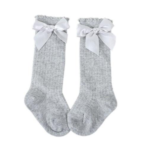 Baby Girls /& Girls 3//4 Knee High Spanish Style Ribbon Bow Socks Socks 0-9 Year W