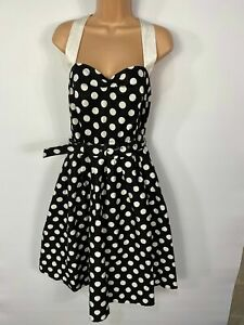 WOMENS DOLLY&DOTTY UK 18 BLACK MIX SPOTTED HALTERNECK 50S SWING ROCKABILLY DRESS