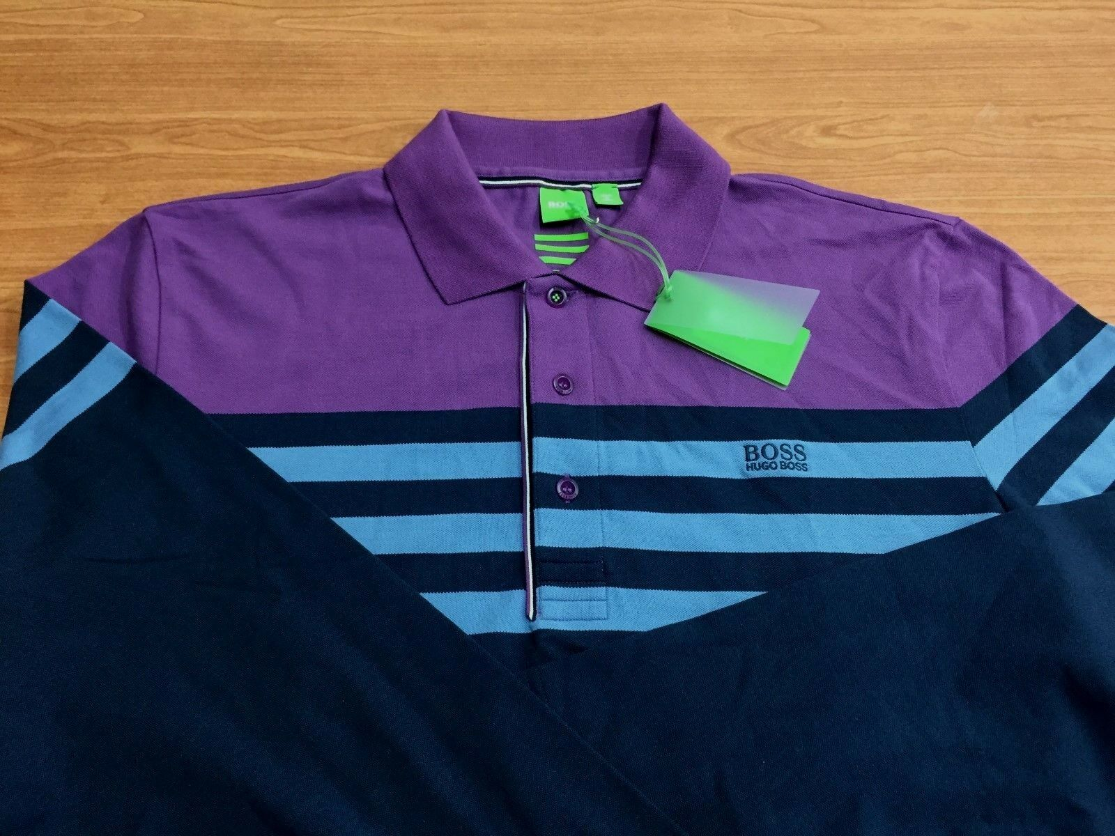 100% Authentic Men's Hugo Boss Green Label LONG SLEEVE POLO Shirt ,Size-LARGE(L)