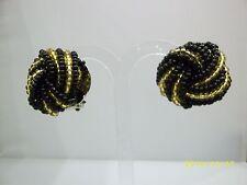 Nero e Oro Decorazione perline Nodo Orecchini a Clip Vintage 1980s
