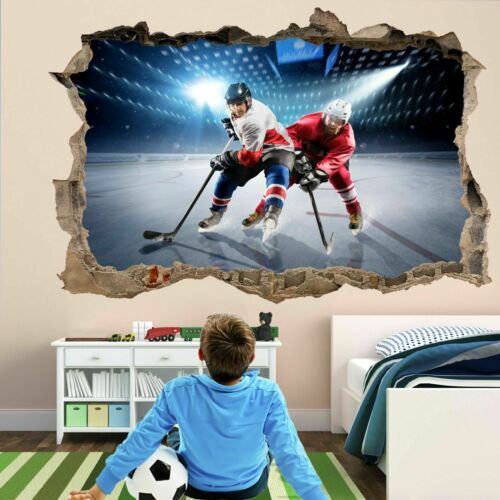 Ice Hockey Rink Players Sports Wall Art Stickers Mural Decal Vinyl Poster Fb10 Home Decor Home Garden