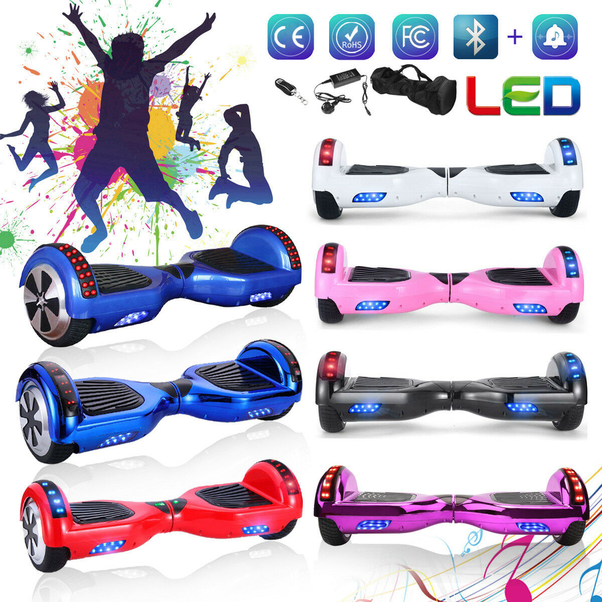 6.5 inch Electric Self Balance Scooter blueETOOTH BAG LED REMOTE For Fun Present