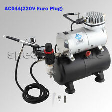 220V OPHIR Cylinder-shape 1/6HP 0-4Bar Air Compressor Kit+0.3 Airbrush for Model