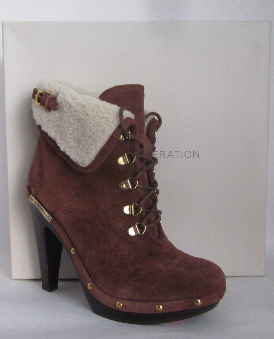 BCBG Melo Latte Brown Suede Shearling Platform Boots - SIZE 8.5