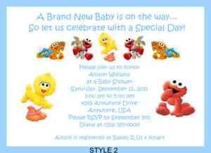 Baby sesame elmo big bird baby shower invitations ebay image is loading baby sesame elmo big bird baby shower invitations filmwisefo