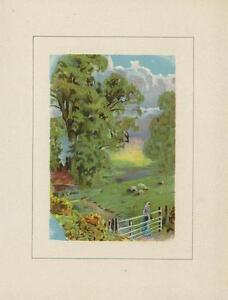 ANTIQUE FOLK ART PRIMITIVE SHEEP GRAZING WOMAN WHITE FENCE TREES HOUSE OLD PRINT