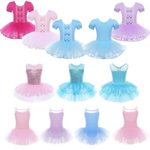 Girls-Gymnastics-Ballet-Mesh-Dress-Toddler-Kids-Leotard-Tutu-Dancewear-Costume