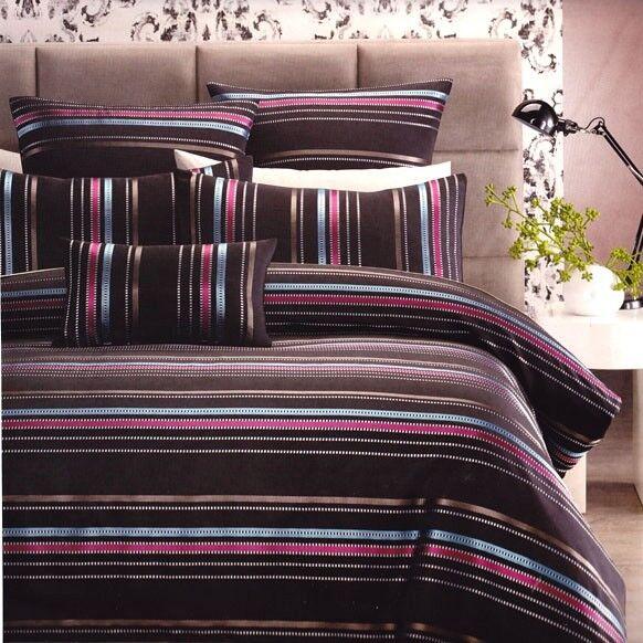 6PC LINCOLN Queen Quilt Cover Set Black Jacquard Stripe Silver Doona Duvet+EURO