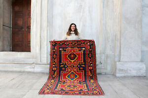 Antique-Handmade-Vintage-Caucasian-Kazakh-Tribal-Carpet-Area-Rug-6-039-9-034-x-4-039-5-034