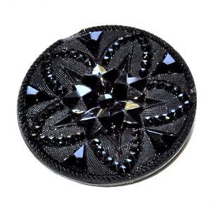 Beau Bouton Ancien En Verre Ou Jais Noir 27mm éclat Sur Bord Button Rqkvvvid-08000628-956957881