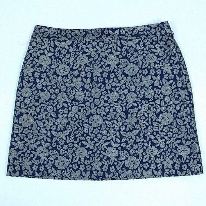 Brooks Bredhers Womens Navy bluee Bronze floral Print Career Dress Skirt 12 NWT
