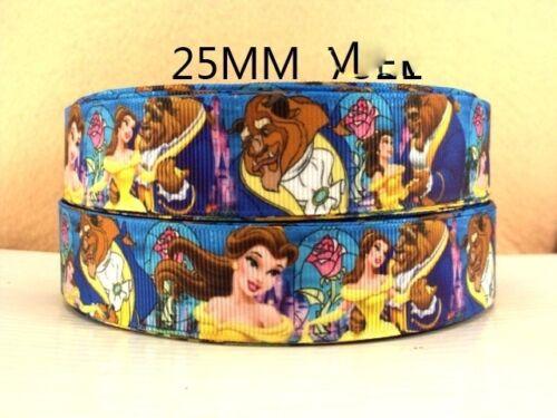 1 mètre de la belle et la Bête Belle Ruban Taille 1 in Cheveux Noeuds Bandeaux environ 2.54 cm
