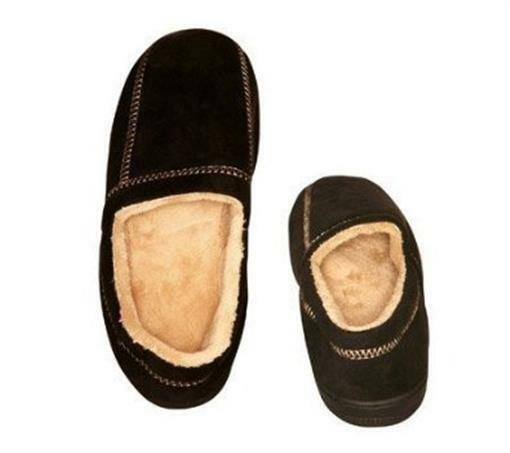 Living Healthy Products MSFS-003-1112 11-12 Suede Fleece Mens Slipper in Black