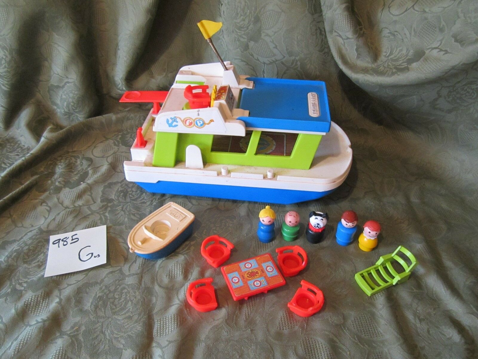 VTG Fisher Price Little People play family House Boat 985 grill boat dog mom G