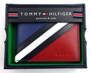 Tommy-Hilfiger-Men-039-s-Leather-Wallet-Passcase-Billfold-Red-Navy-NEW