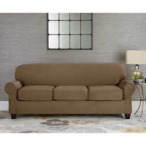 Details about Sure Fit Suede Taupe Individual Cushion Sofa Slipcover 3  cushion style t or box