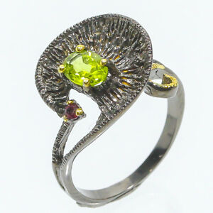 Sweet-7x5-GEM-amp-Jewelry-Natural-Peridot-925-Sterling-Silver-Ring-RVS85