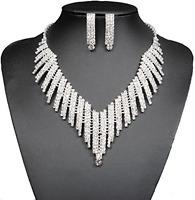 Wedding Bridal Jewelry Set Crystal Rhinestone V Shape Necklace And Earrings
